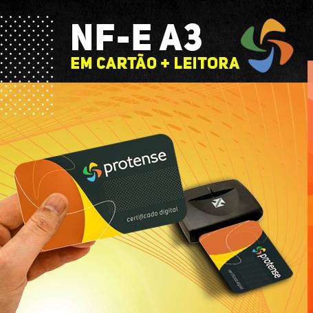 NFe A3 EM CARTÃO INTELIGENTE + LEITORA (VALIDADE DE 01 ANO)