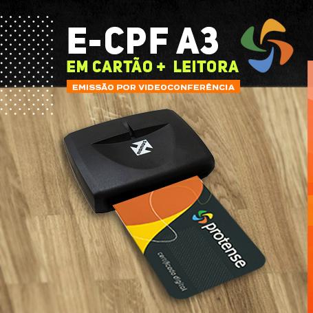 Videoconferência: Leitora de Cartão + e-CPF A3 (3 anos)