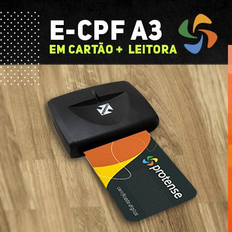 E-CPF A3 EM CARTÃO INTELIGENTE + LEITORA (VALIDADE DE 03 ANOS)