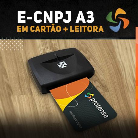 e-CNPJ A3 EM CARTÃO INTELIGENTE + LEITORA (VALIDADE DE 01 ANO)